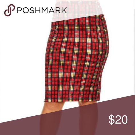 f87ef242feaf7 Plaid pencil skirt This is a super cute plus size pencil skirt. The plaid  is red and black with a small stripe of white and mustard Skirts Pencil