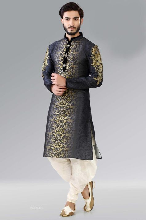 Navy Blue Color Dupion Mens Wear Designer Kurta With Matching Bottom