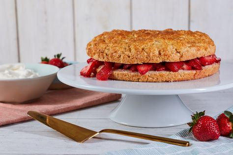 Class of the Day: Strawberry Shortcake 🍓Celebrate the 4th the best way possible: a GIANT Strawberry Shortcake 🍰 Jessie Sheehan walks you through baking the cake, then filling it with fresh strawberries and cream. Get the recipe in Jessie's class on the #FoodNetworkKitchen app.