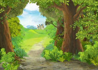 Cartoon Nature Scene With Beautiful Castle Illustration For The Children Sponsored Scene Nature Castle Illustration Nature Scenes Beautiful Castles