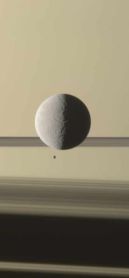 New Cassini Image: Saturn's moon Rhea with the planet's tiny moon Epimetheus Credit: NASA/JPL-Caltech/Space Science Institute; Processed image: G. Ugarković