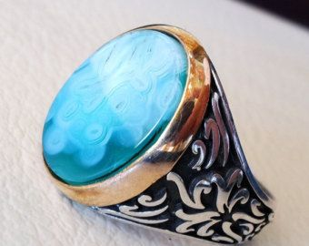925 Sterling Silver Turkish Designer Ring Jewelry Genuine Dendritic Opal Ring