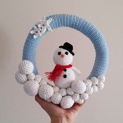 Amigurumi Pattern Snowman Wreath Christmas Crochet Patterns Crochet Christmas Wreath Crochet Wreath