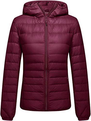Women's Lightweight Zip Packable Insulated Puffer Hooded Slim Fit Jacket