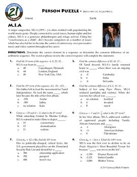 Person Puzzle - Arithmetic Sequences - M.I.A Worksheet ...