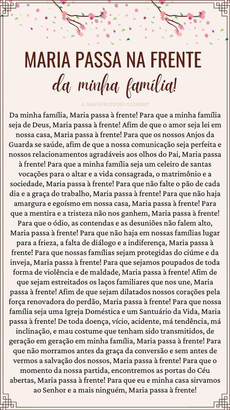CLIQUE E ELEIA A NOVENA COMPLETA! Da minha família, Maria passa à frente!Para que a minha família seja de Deus, Maria passa à frente!Afim de que o amor seja lei em nossa casa, Maria passa à frente! #oração #mariapassanafrente #oraçãomariana #fé #poderosa #nossasenhora #oraçãocatólica #féemdeus # #como #rezar #orar #igrejacatólica #orarcomfé #prayer #catholic #faith #daminhafamilia #mãeimaculada #oracion #novena #maria #casa #lar #familiar #familiacristã #cristãos #deus #jesus