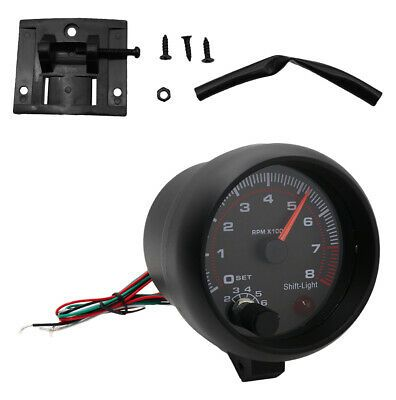 New Quality Car Tachometer Gauge White Inter Shift Light 0 8000 Rpm Background Ebay In 2020 Car Tachometer Tachometer Gauges