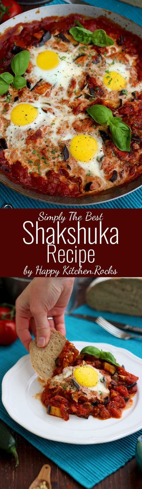 Foolproof Shakshuka Recipe: Eggs poached in spicy tomato-based veggie stew, baked to perfection, garnished with fresh herbs and served with crusty bread. Flavorsome, nourishing and healthy one-pot breakfast or dinner meal you will make over and over again! #flavosome #vegetarianrecipe #vegetarianfood #egg #deliciousmeal | happykitchen.rocks