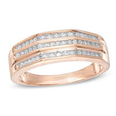 Mens 1 4 CT TW Diamond Wedding Band In 10K Rose Gold