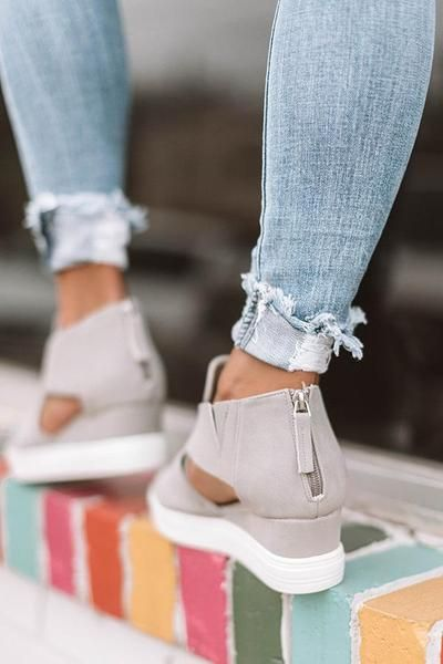 bb5742ce6 Hollow-out Wedge Heel Sandals in 2019   Shoes   Wedge heel sneakers ...