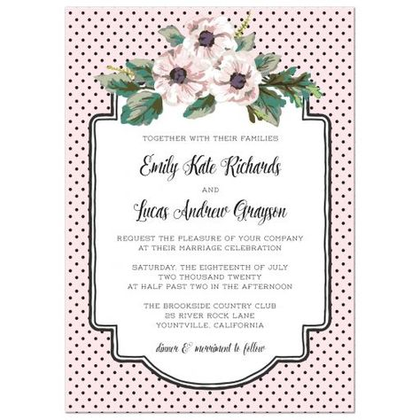 A sweet  wedding invitation  design featuring lovely flowers and a hand drawn frame area for text on a darling black and pink polka dot background. Design by The Spotted Olive.