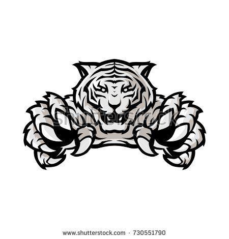 White Tiger Sport Gaming Logo Vector Template With White Background Sketsa Desain Logo Gambar