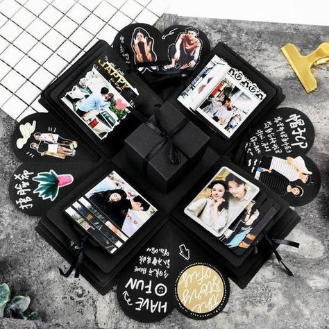 About this item 🎁 Explosion Photo Box = When closed, the box looks like a gift box; Once opened, all the sides fall back to reveal a large mufti-layered card. Surprise Box = Assembled photo explosion box opens with a small surprise gift box inside, you can put a ring, watch, necklace, or other