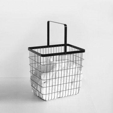 Yamazaki Tower Laundry Wire Basket Large Black Large Baskets