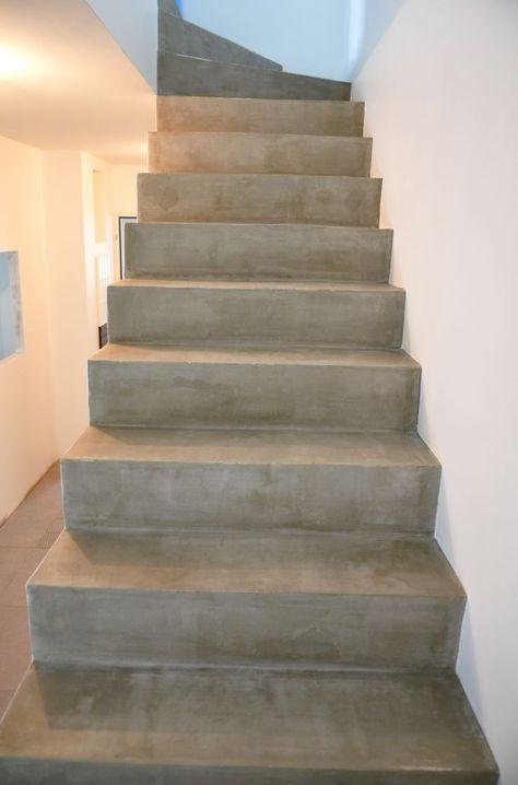 Résine de sol aspect béton ciré escalier Pinterest Staircases - peinture sur beton brut