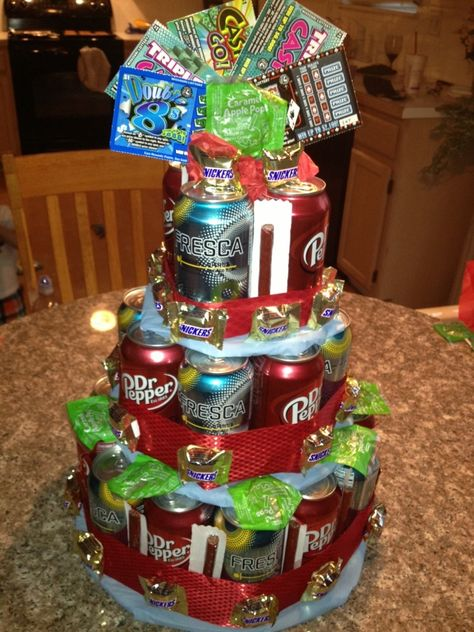 Diy Birthday Cake Made With Soda- Also Could Be Made W/ Beer & Beef Jerky