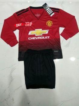 Kids Man United 2018 19 Top Home Ls Soccer Kit N46 Kids Suits Kids Soccer Custom Soccer