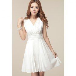 $15.46 V-Neck Sleeveless Solid Color Pleated Ladylike Style Chiffon Dress For Women