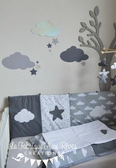 Linge Lit Bebe Et Decoration Chambre Bebe Nuages Et Etoiles Gris
