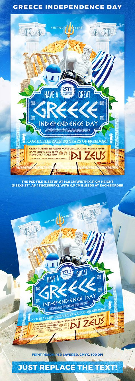 Greece Independence Day  Flyer Template Template And Party Flyer