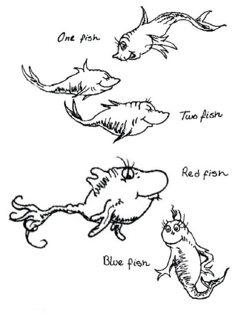 One Fish Two Fish Coloring Page Fish Coloring Page Dr Seuss