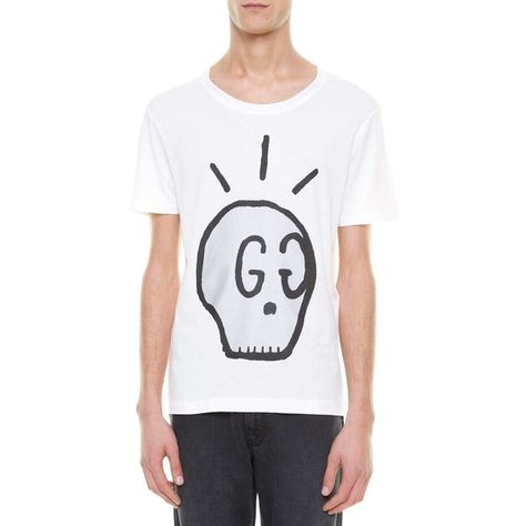 15750130b GUCCI 'Skull' printed t-shirt ($375) ❤ liked on Polyvore featuring men's  fashion, men's clothing, men's shirts, men's t-shirts, gucci mens shirts,  mens ...