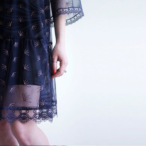 Blue embroidered bohemian short transperent dress for woman