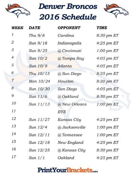 Printable Denver Broncos Schedule - 2016 Football Season