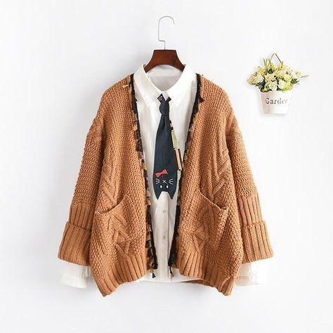 Open Front Tassel Knit Cardigan Sweater Coat - Khaki / One Size