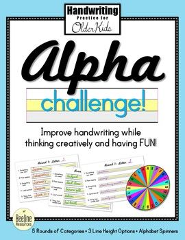 Alpha Challenge Fun Handwriting Practice For Older Kids 5 Rounds