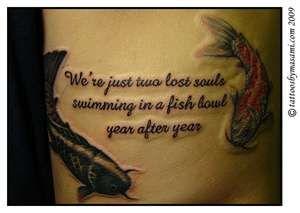 koi fish tattoo with Pink Floyd lyrics