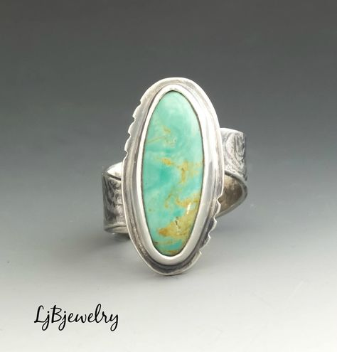 Turquoise Ring Silver Ring Statement Ring Cocktail Ring Metalsmith Metalwork Handmade Sterling silver Turquoise artisan jewelry by LjBjewelry on Etsy