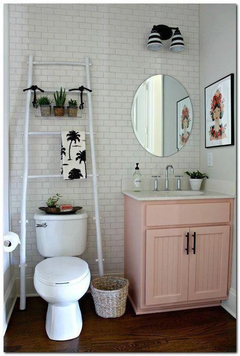 This Pink Cabinet Add Much Fun On The Bathroom Design 1000 In 2020 Cute Bathroom Ideas Trendy Bathroom Bathroom Decor