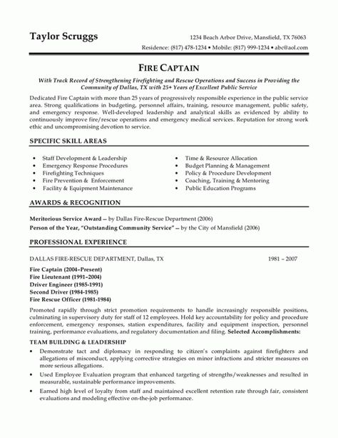 police officer resume sample template design pinterest and Home - fire captain resume