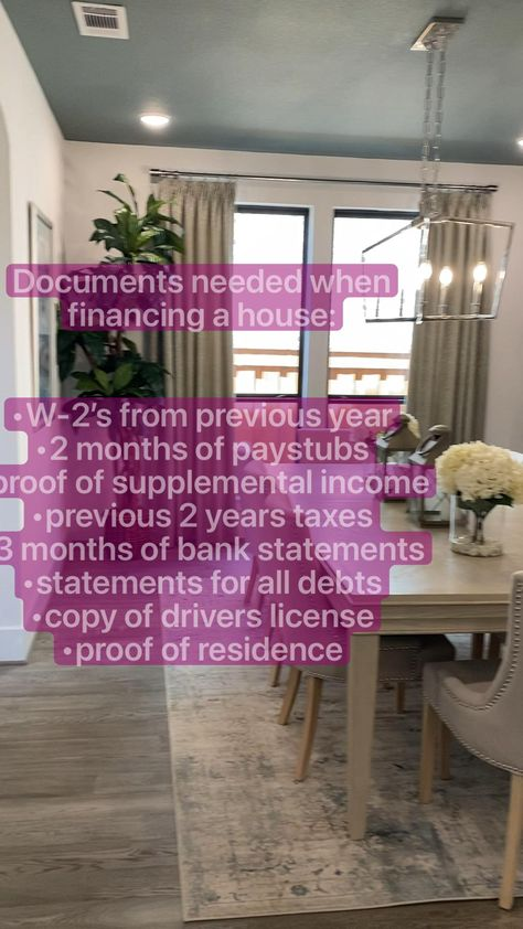Documents needed when financing a house:    #homebuyingtips #budgeting #budgettips #newhomechecklist