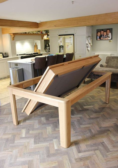 Oak Farmhouse Rollover Pool / Dining Table www. - Oak Farmhouse Rollover Pool / Dining Table www. Diy Pool Table, Pool Table Dining Table, Pool Table Room, Dinning Room Tables, Dining Table Design, Outdoor Pool Table, Farmhouse Dining Tables, Custom Pool Tables, Dining Table With Storage