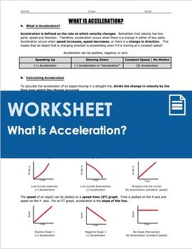 Worksheet - What is Acceleration? | Physics - Motion & Speed ...