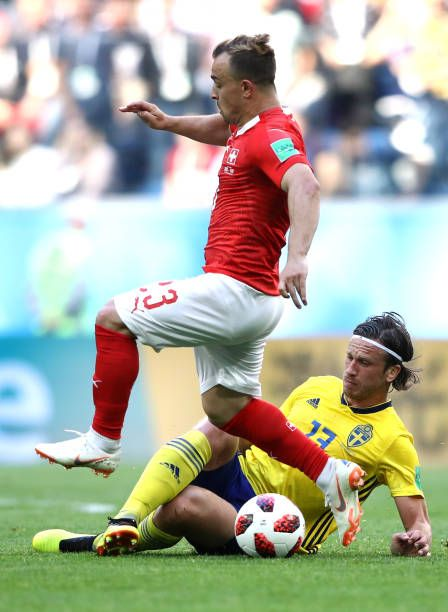 Xherdan Shaqiri Of Switzerland Is Tackled By Gustav Svensson Of Sweden During The 2018 Fifa World Cup Russia Round Of 16 Match Fifa World Cup Tackle World Cup