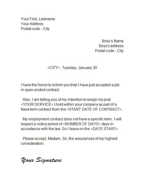 resignation_letter_5 Resignation Letter Pinterest - Job Verification Letter