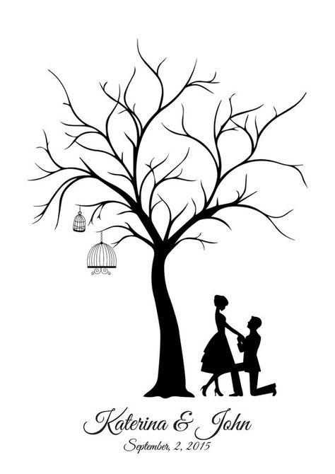 Reproduction sur toile mariage arbre Guest Book - le marié et la mariée - à la…