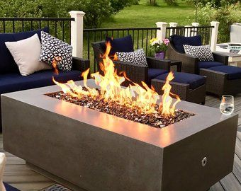 Rectangle With Top Fire Table Etsy Fire Table Rectangular Fire Pit Glass Fire Pit