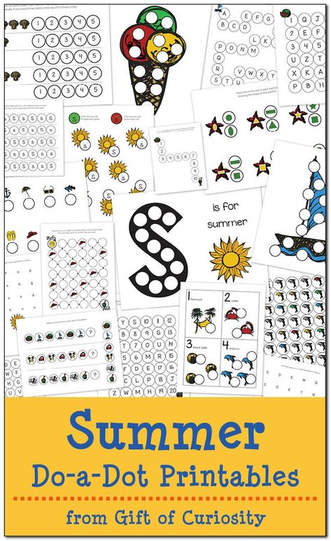 Free Summer Do-a-Dot Printables: 19 pages of summer dot worksheets for kids ages 2-6. Great fun for summer learning! | #freeprintable #DoADot #giftofcuriosity || Gift of Curiosity