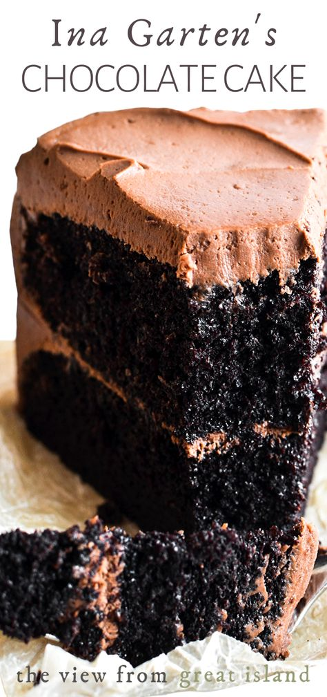Ina Garten's Chocolate Cake - Ina Garten's Chocolate Cake Recipe is the ultimate chocolate layer cake from the Barefoot Contessa herself ~ it makes the perfect birthday cake! Köstliche Desserts, Chocolate Desserts, Delicious Desserts, Dessert Recipes, Easy Chocolate Cake Recipe, Delicious Chocolate, Ultimate Chocolate Cake, Perfect Chocolate Cake, Decadent Chocolate Cake