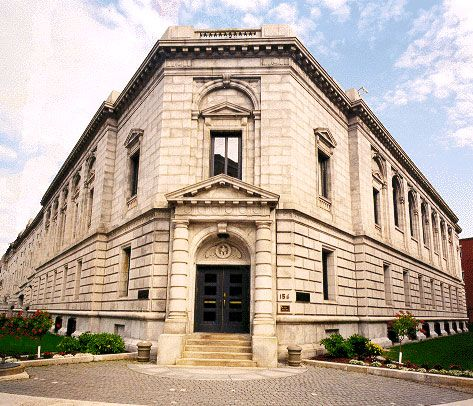 Edward T. Gignoux U.S. Courthouse in Portland, ME. This was the first federal courthouse in Maine and was designed in a trapazoidal shape with an interior courtyard. It was built in two phases—the first in 1911 and the second in 1932.
