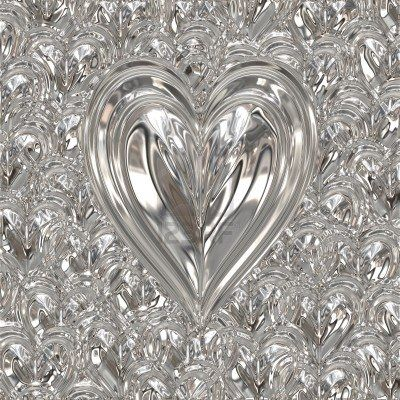 big bright beautiful silver heart on heart background