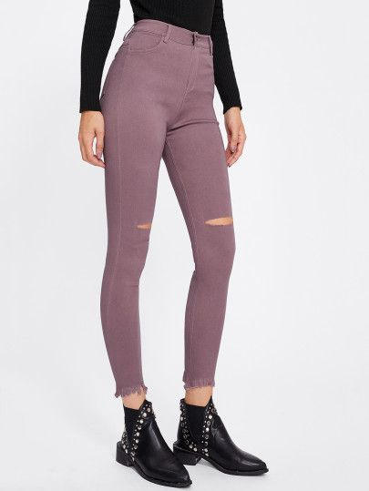 Knee Rips Frayed Hem Jeans Denim Women Hem Jeans Trendy Outfits