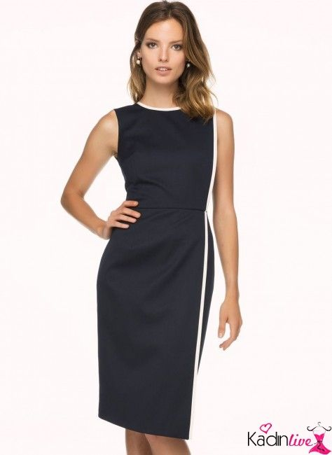 Ipekyol Lacivert Biye Detayli Kalem Elbise Modeli Kadinlive Com Elbise Elbise Modelleri Moda Stilleri