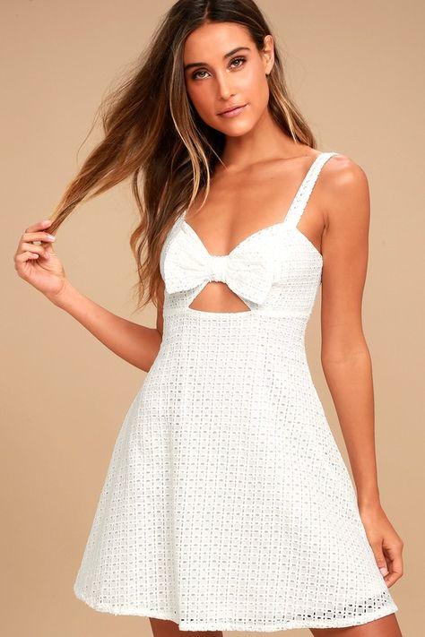 dd296eb7d407 Songbook White Crochet Lace Skater Dress
