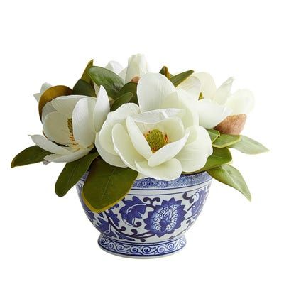 A Classical Arrangement Our Handcrafted Magnolia Display Shines In Its Simplicity Ensco Flower Decorations Floral Arrangements Artificial Floral Arrangements