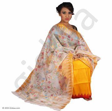 Orange Cream Handmade Traditional 100 Muga Silk Phanek Shawl Set Saree Floral Prints Silk